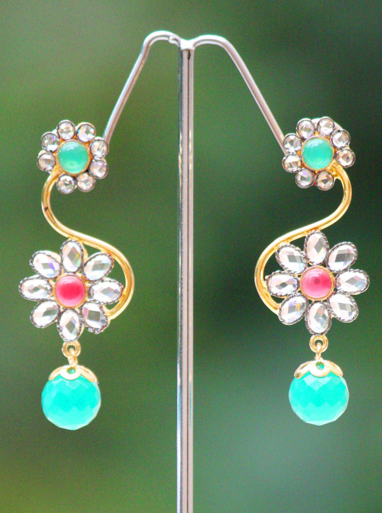 Elegant Polki and zircon earrings