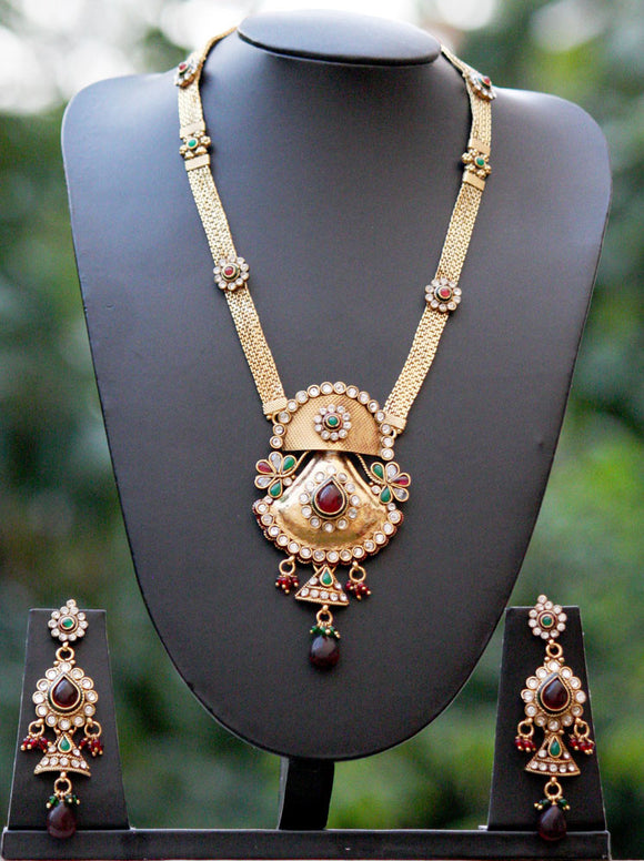 Stunning Pearl & Polki Long Necklace Set