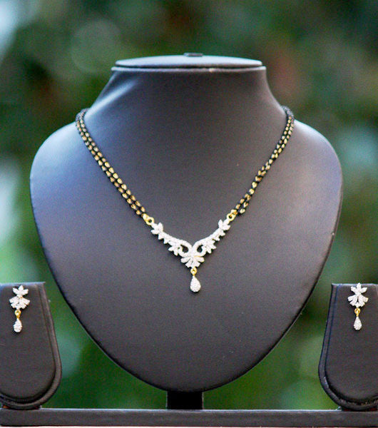 American Diamond Mangalsutra set with earrings