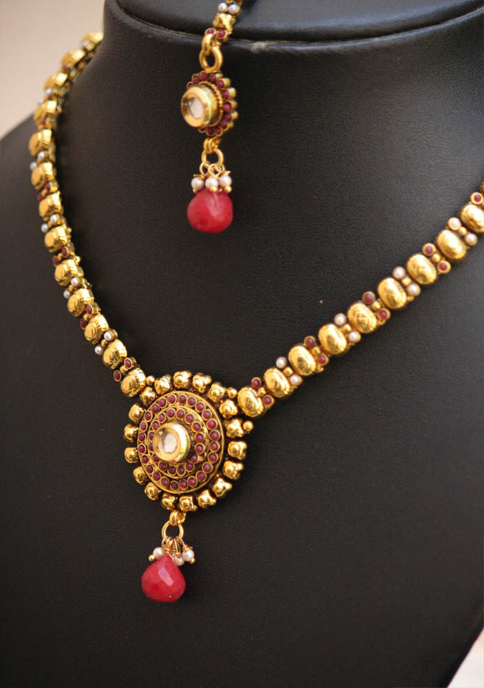 Elegant Polki & Kundan Necklace Set