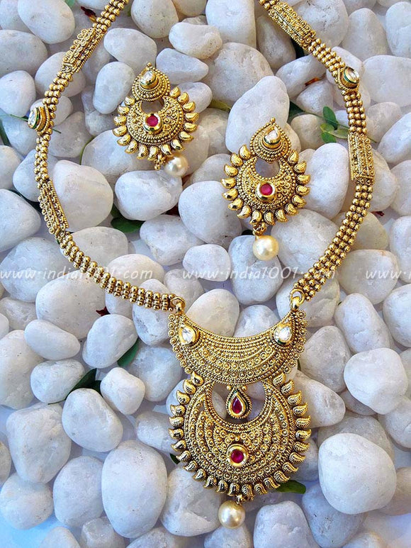 Gorgeous Kundan & Polki Long Necklace set