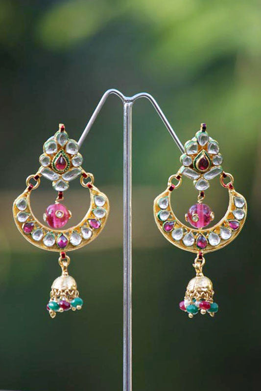 Stunning Kundan Chand Earrings