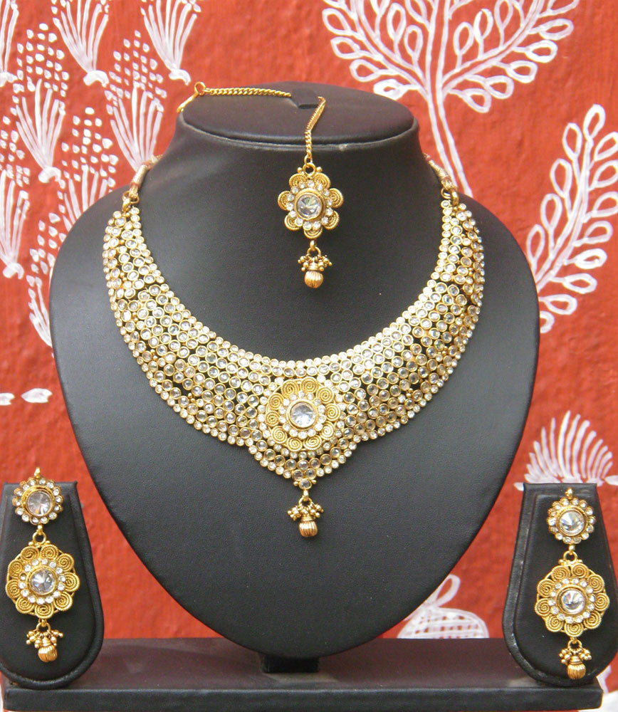 Designer Polki Necklace Set with tika