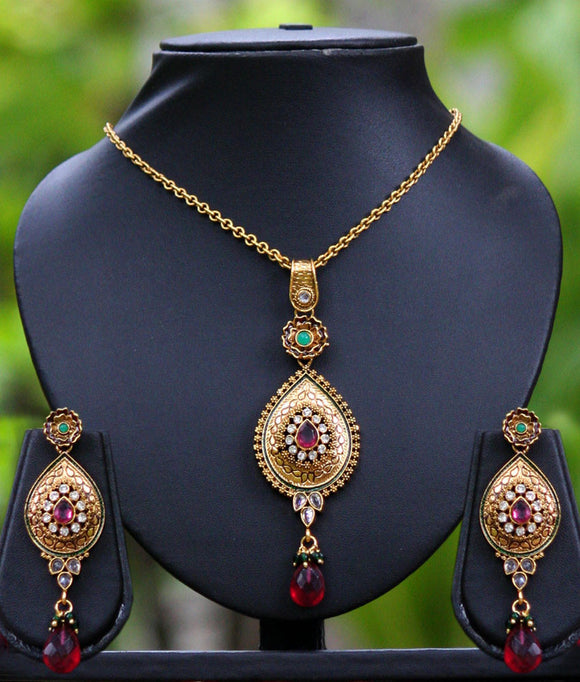 Designer Antique Gold Pendant Set