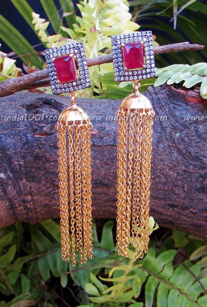Elegant Earring with AD in Matt Gold Finish
