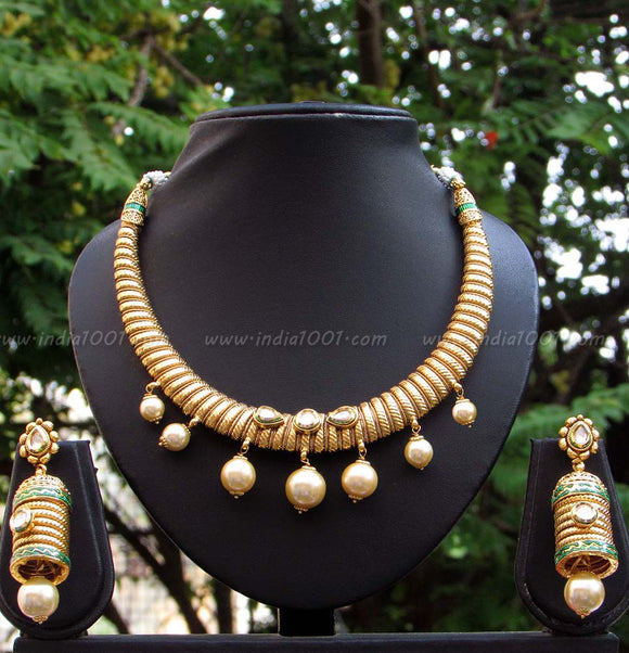 Stunning Kundan, Pearl & Polki Necklace Set