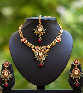Designer Pearl Kundan & Polki Necklace Set
