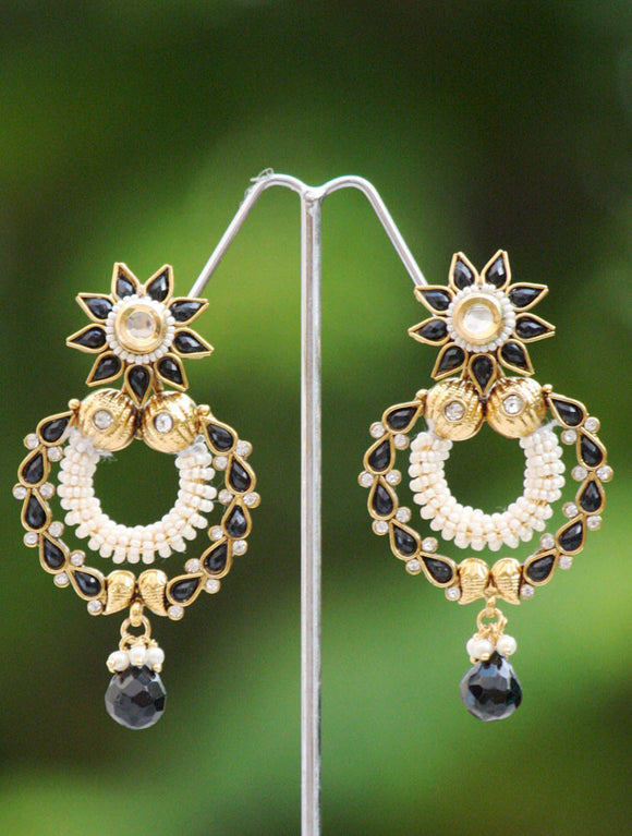 Stunning Black Polki & Pearl Earrings