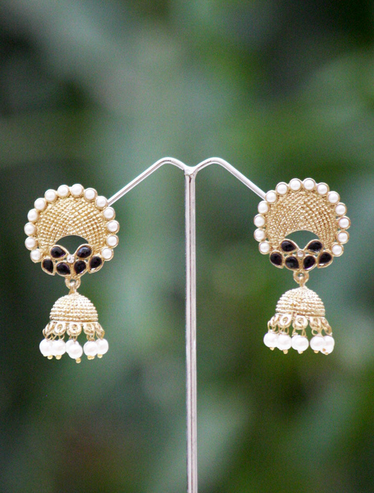 Elegant Polki & Pearl Earrings