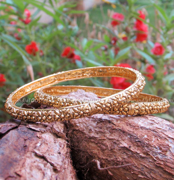 Antique Gold Finish Bangles