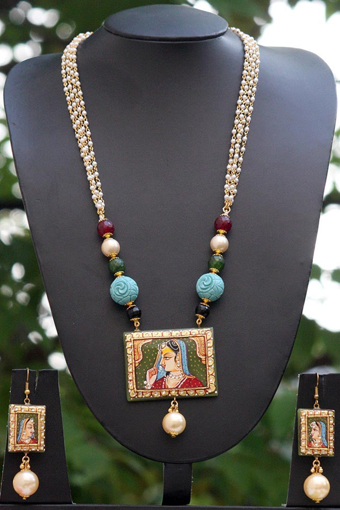 Designer & Elegant Hand Painted Necklace Set with beads