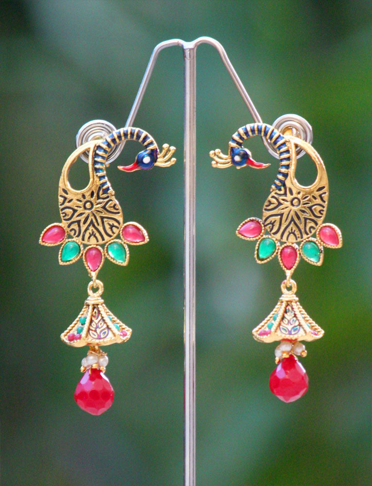 Stunning Meenakari, Polki &  Pearl Earrings