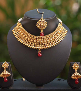 Stunning Gold Finish Choker Set with Tika