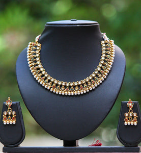 Elegant Pearl and Polki Necklace Set