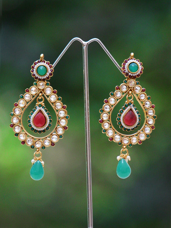 Stunning Polki and Pearl Earrings