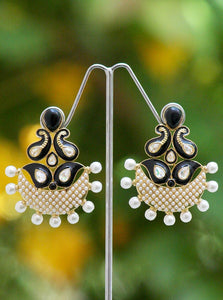 Elegant Meenakari,  Polki & Pearl Earrings
