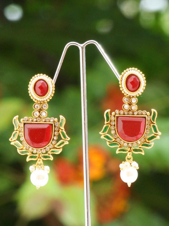 Designer Polki & Pearl Earrings