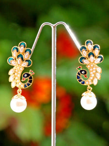 Beautiful Meenakari, Polki &  Pearl Earrings