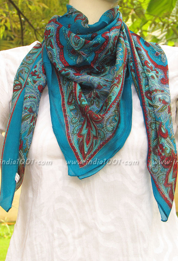 Elegant Silk Scarf with Block Print