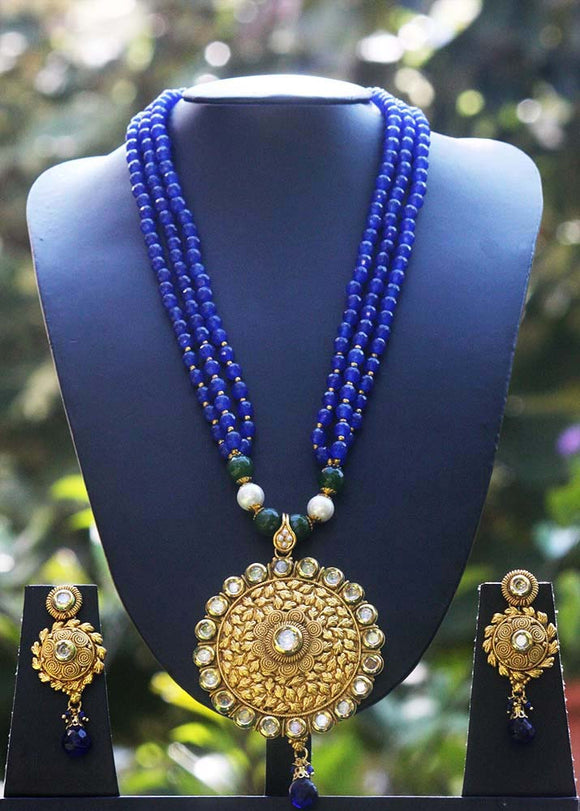 Elegant Pearl, Kundan & Polki Necklace Set
