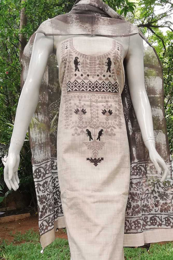 Elegant Jute Cotton Unstitched  Suit