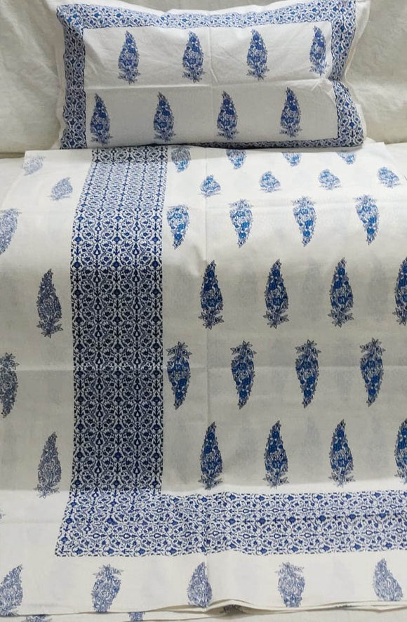 Hand block printed Single Bed sheet with Single ( 1 ) pillow cover