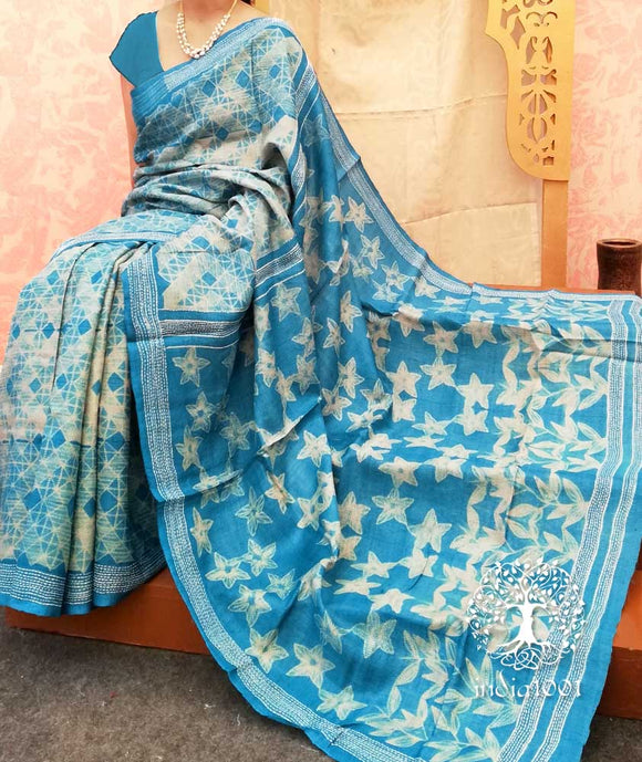 Elegant Desi Tussar Silk Saree with Tie & Dye Shibori & Suzani embroidery work