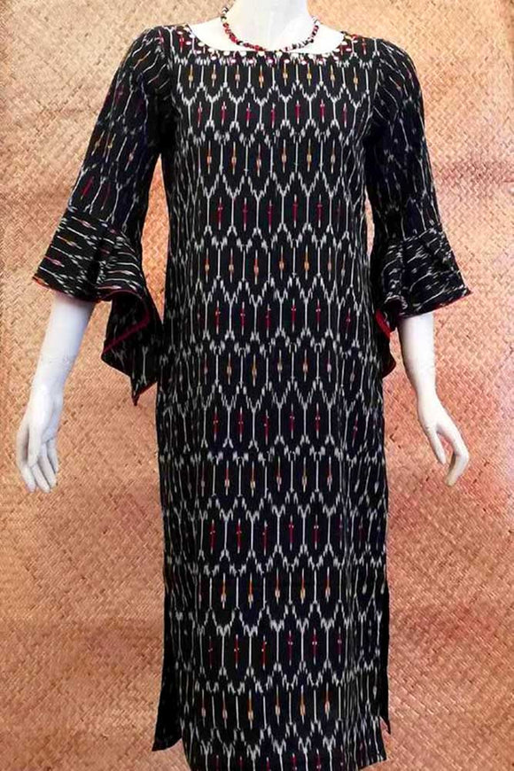 Ikkat Cotton Kurta with Mirror Work