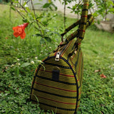 Green Striped Ajrakh Silk Duffle Bag