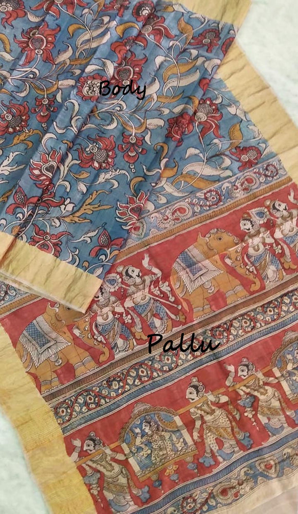Beautiful Hand Painted Kalamkari Saree on Tussar Silk