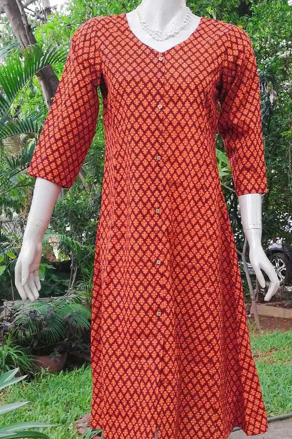 Elegant Block printed Cotton A line kurta