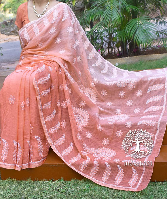 Elegant Ombre Dyed Kota cotton Saree with Lucknowi Chikankari work