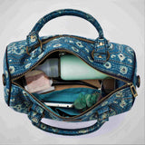 Ajrakh Blue Silk Duffle Bag