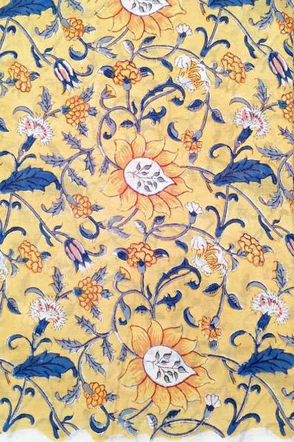 Hand Block Printed Running Mul Cotton Fabric