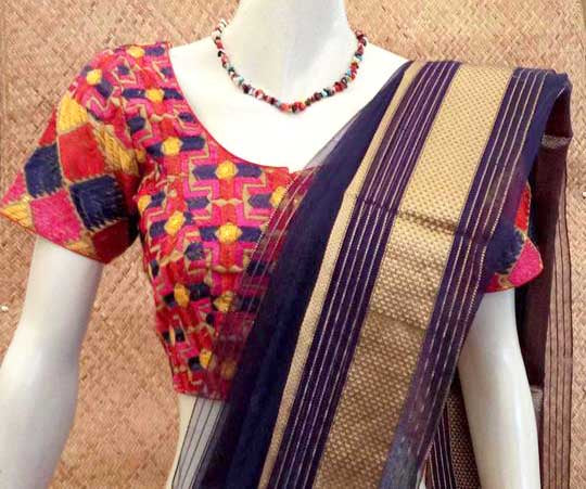 Hand Embroidered phulkari work cotton Blouse - size 40