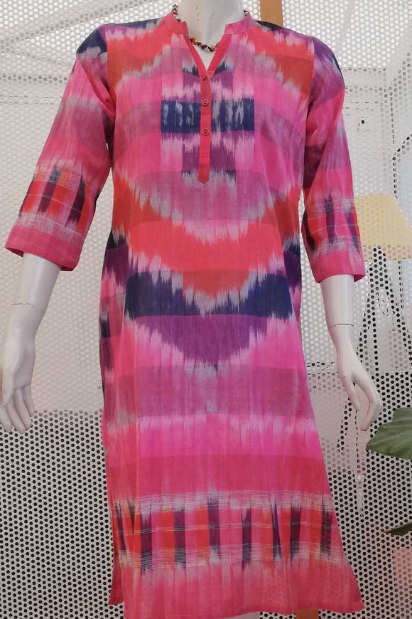 Beautiful Gamcha Cotton Long Kurta s- 40