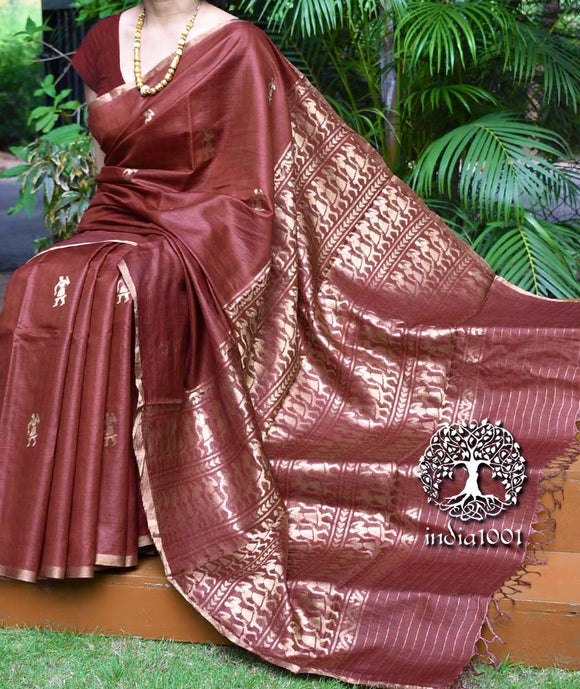 Elegant Handwoven Pure Kosa Silk Saree with Bastar Sua Nritya figures