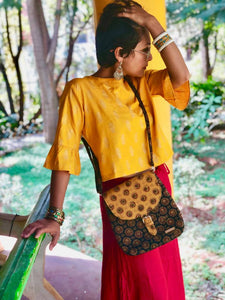 Ajrakh Black and Mustard Sling Bag