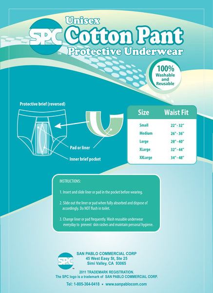 SPC unisex protective cotton reusable underwear