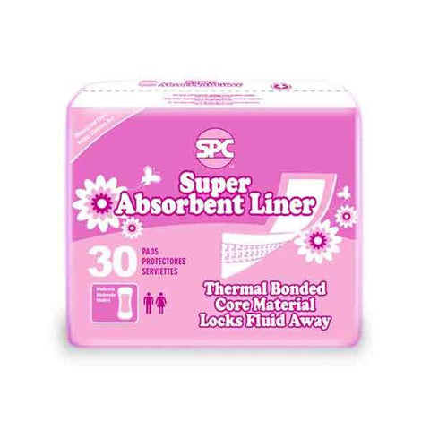 SPC Super Absorbent Incontinence Panty Liners, 6 Packs of 30 Liners (180 count)
