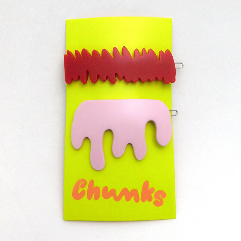 Chunks Red Scratch + Pink Drip Barrettes Barettes (2 pack)