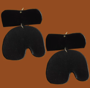 Future Ancestors Large Black Geo Earring