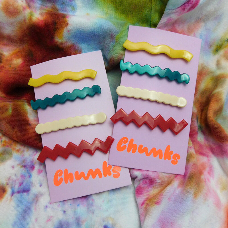 Chunks Thin Lines Barrettes (4 pack)