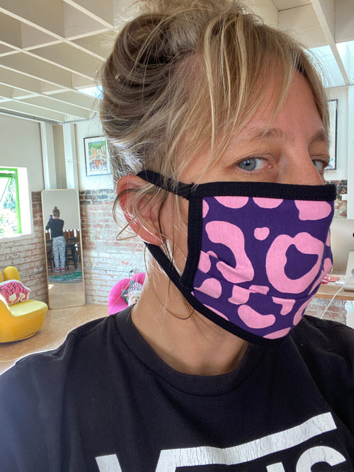 Over Ear Jersey Face Mask PINK Long Cat