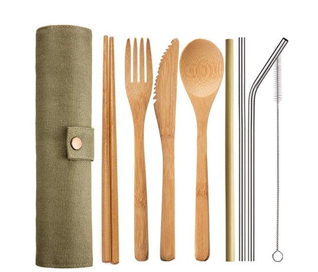 Bamboo Travel Cutlery Set With Bonus Stainless Steel Straws - Austin Collective