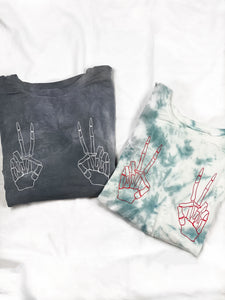 Skeleton Peace Sign Graphic Tee