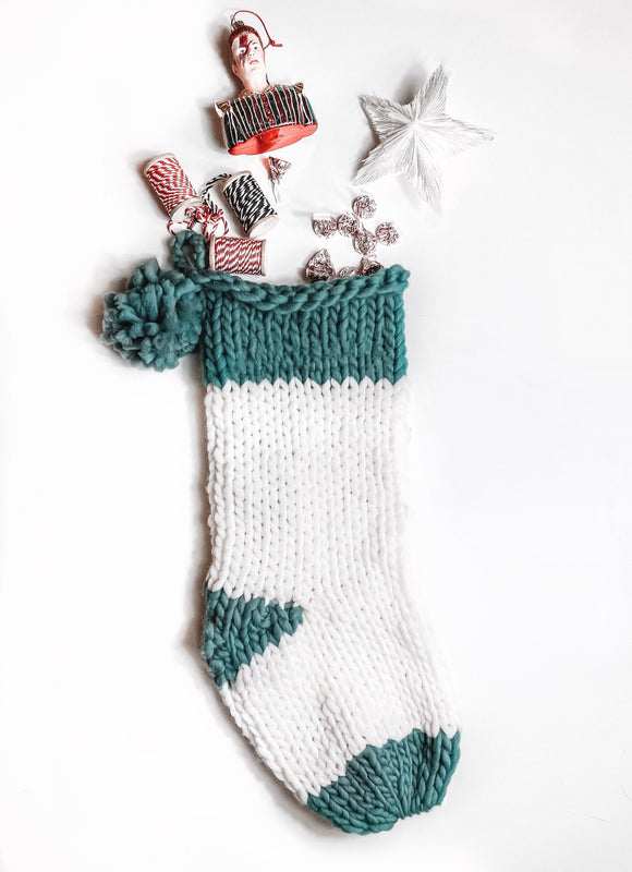 Chunky Knit Pom Pom Stocking