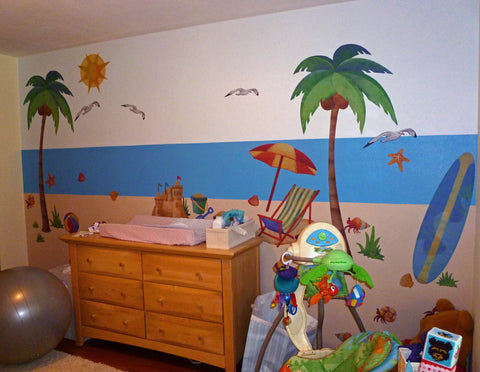 Nursery Room with Beach Wall Stickers