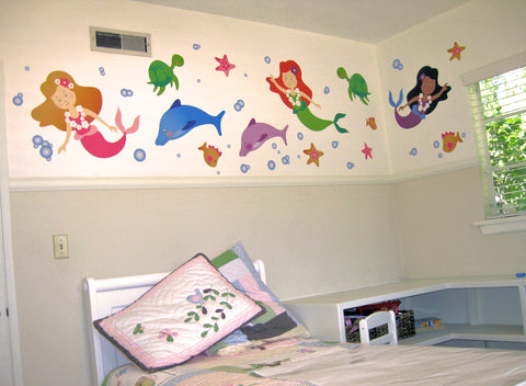 Mermaid Wall Stickers Finished Room