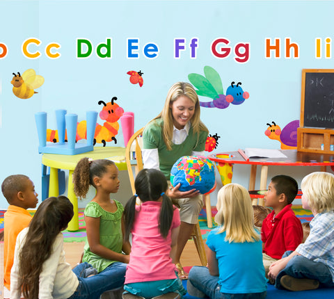 Alphabet wall stickers for classrooms